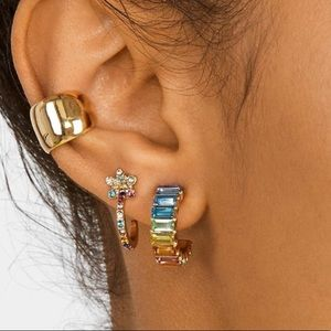 Boutique Rainbow Crystal Pavé Hoop Earrings